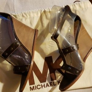 Michal Kors couture wedge sandal & dust bag